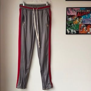 MNML Grey and Red Track Pants